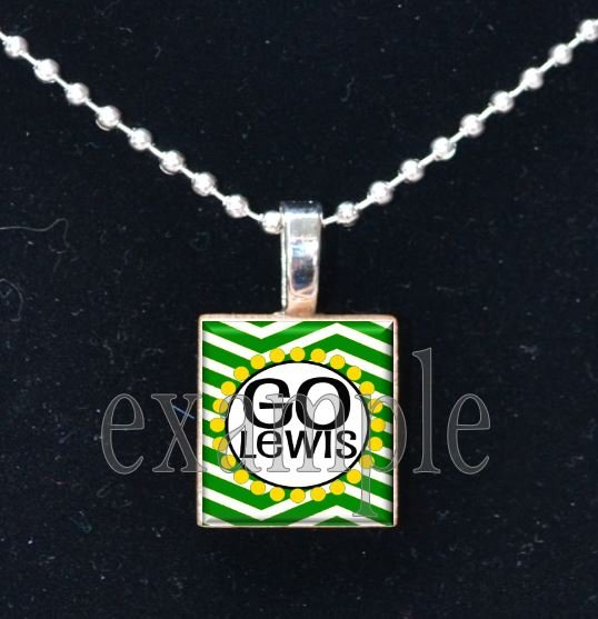 GO LEWIS FALCONS School Team Mascot Pendant Necklace Charm or Keychain