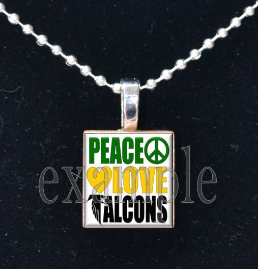 PEACE LOVE LEWIS FALCONS School Team Mascot Pendant Necklace Charm or Keychain