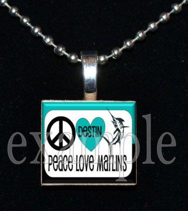 DESTIN MIDDLE SCHOOL PEACE LOVE MARLINS School Team Mascot Pendant Necklace Charm or Keychain