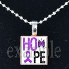 ALZHEIMER'S HOPE Awareness Ribbon Scrabble Tile Pendant Necklace Charm Key-chain