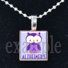 ALZHEIMER'S OWL Awareness Ribbon Scrabble Tile Pendant Necklace Charm Key-chain
