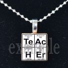 TEACHER Elements Science Scrabble Necklace Pendant Charm Key-chain Gift