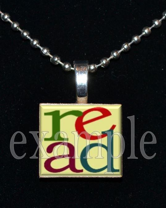 School Teacher READ Scrabble Necklace Pendant Charm or Key-chain Great Gift