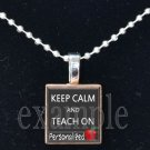 School Teacher PERSONALIZED KEEP CALM Scrabble Necklace Pendant Charm Key-chain Great Gift