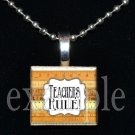 TEACHER RULE Ruler Necklace Charm Wood Scrabble Tile Pendant OR Key-chain