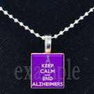 Keep Calm and End ALZHEIMER'S Awareness Ribbon Scrabble Tile Pendant Necklace Charm OR Key-chain