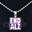 END ALZ ALZHEIMER'S Awareness Purple Ribbon Scrabble Tile Pendant Necklace Charm OR Key-chain