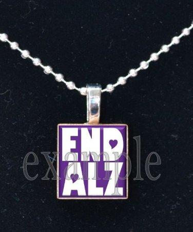 END ALZ ALZHEIMER'S Awareness Purple Ribbon Scrabble Tile Pendant Necklace Charm OR Key-chain