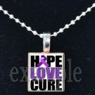 HOPE LOVE CURE ALZHEIMER'S Awareness Purple Ribbon Scrabble Tile Pendant Necklace Charm OR Key-chain