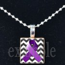 ALZHEIMER'S Awareness Purple Ribbon Chevron Scrabble Tile Pendant Necklace Charm OR Key-chain