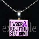 "I wear Purple for ""name/personalized"" ALZHEIMER'S Awareness Scrabble Pendant Necklace OR Key-chain"