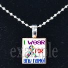 "AUTISM Awareness I WEAR FOR ""name/personalization"" Scrabble Pendant Necklace Charm OR Key-chain"