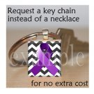ALZHEIMER'S  Awareness Ribbon Scrabble Tile Key-chain
