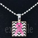 BREAST CANCER Awareness Chevron Ribbon Scrabble Tile Pendant Necklace Charm Key-chain