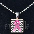 BREAST CANCER Awareness Chevron Ribbon Scrabble Tile Pendant Necklace Charm Key-chain
