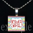 Happy BIRTHDAY GIRL Chevron Scrabble Tile Pendant Necklace Charm OR Keychain