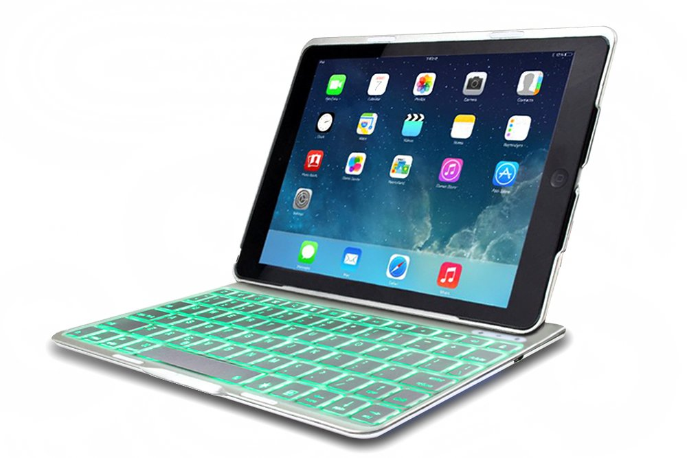 FlyStone® Folio Leathe Case Ultra-thin Backlit Bluetooth Keyboard for iPad Air / iPad 5 (Silver)