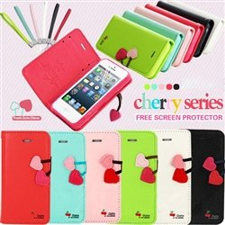 Genuine Cherry Leather Stand Flip Wallet Cute Cover Case For iPhone 5G 5S FREE screen protector