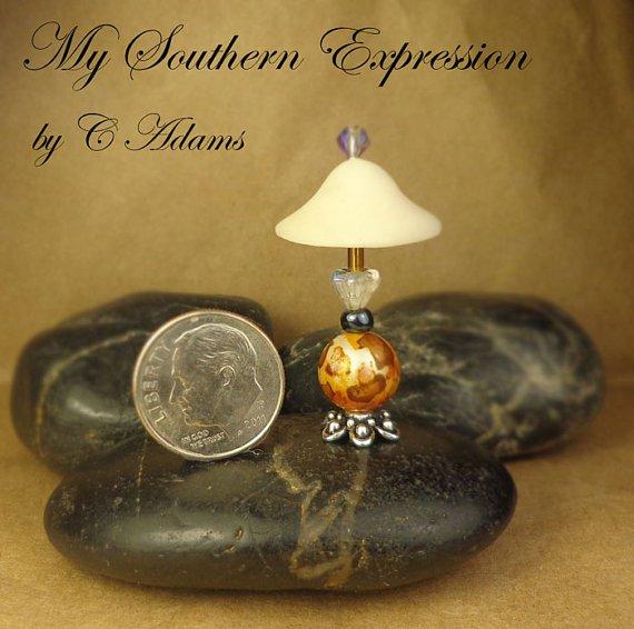 Dollhouse OOAK Lamp Miniature Golden Leopard Accent Handmade Lamp Orginal OOAK by C Adams