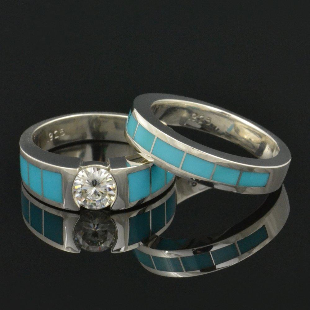 Turquoise Wedding Band and Engagement Ring