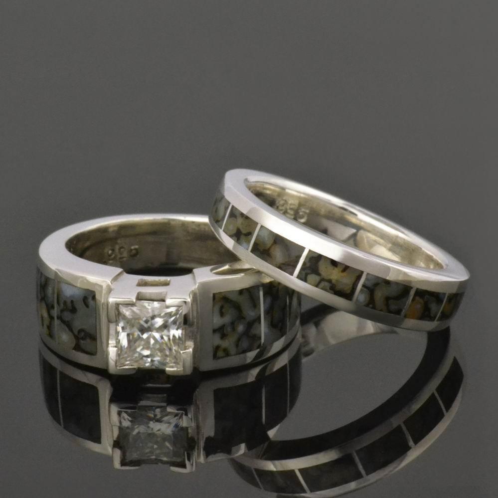 Dinosaur Bone Wedding and Engagement Ring Set