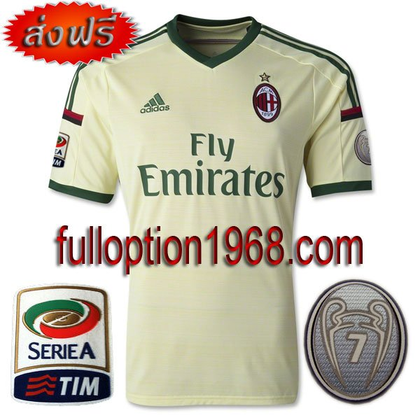 NEW 14-15 Ac Milan 3rd Calcio+Trophy 7 Patch Soccer Football Shirt Jersey