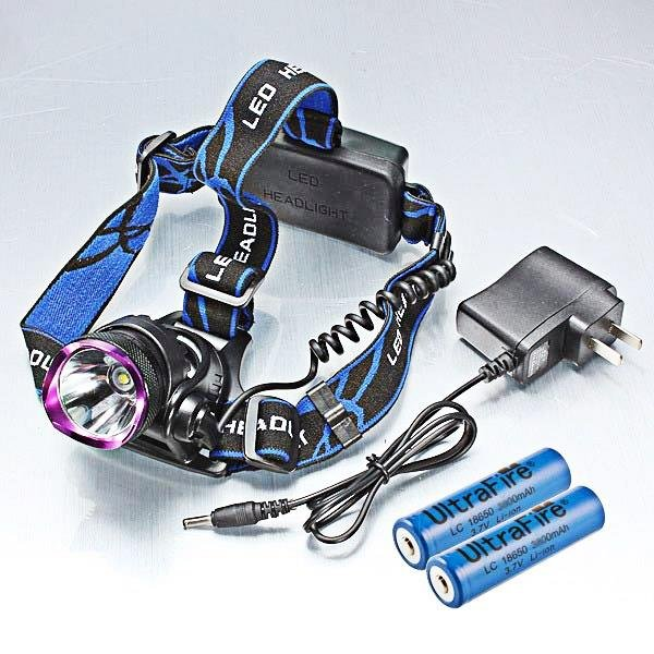 XML T6 LED 1-Bulb 2000LM 3 Modes Waterproof Headlamp Purple & Black (2*1860)