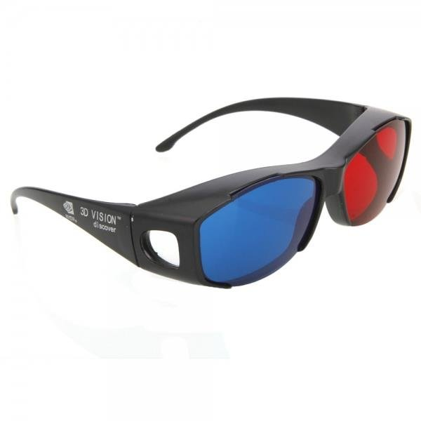 A62 Plastic Frame Resin Lens Anaglyphic Blue + Red 3D Glasses