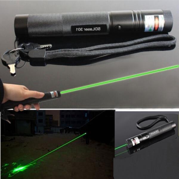 5mW 532nm Adjustable Beam Focus Burn Green Laser Pointer Pen Black color