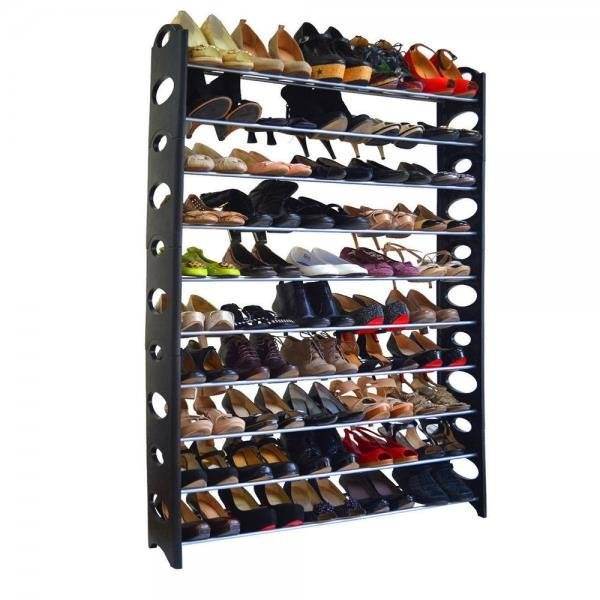 10-Tie Shoe Rack for 50 Pair Wall Bench Shelf Closet Organizer Storage Box Stand