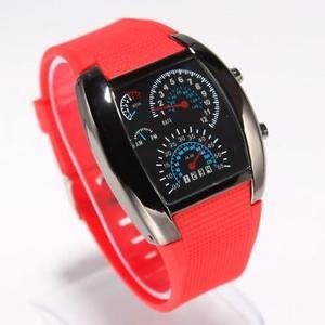 Fashionable Blue LED Light Steel Case Aviation Speedometer Analog Wrist Watch