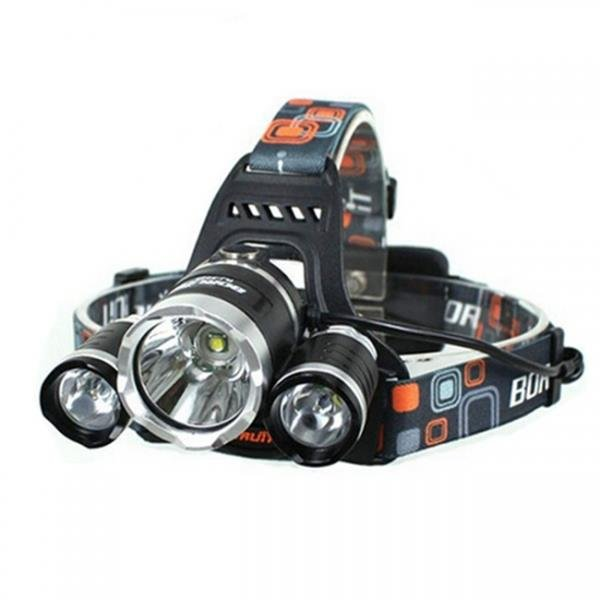 0XML 3*T6 5000LM 4 Modes Single LED Headlamp Black