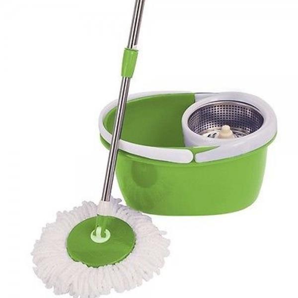 Easy Magic Floor Mop 360 Bucket 2 Heads Microfiber Spin Spinning Rotating Green