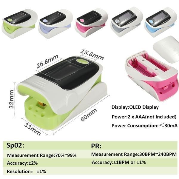 """1.1"""" OLED Screen SPO2 Heart Rate Monitor Fingertip Pulse Oximeter Green & Black"""