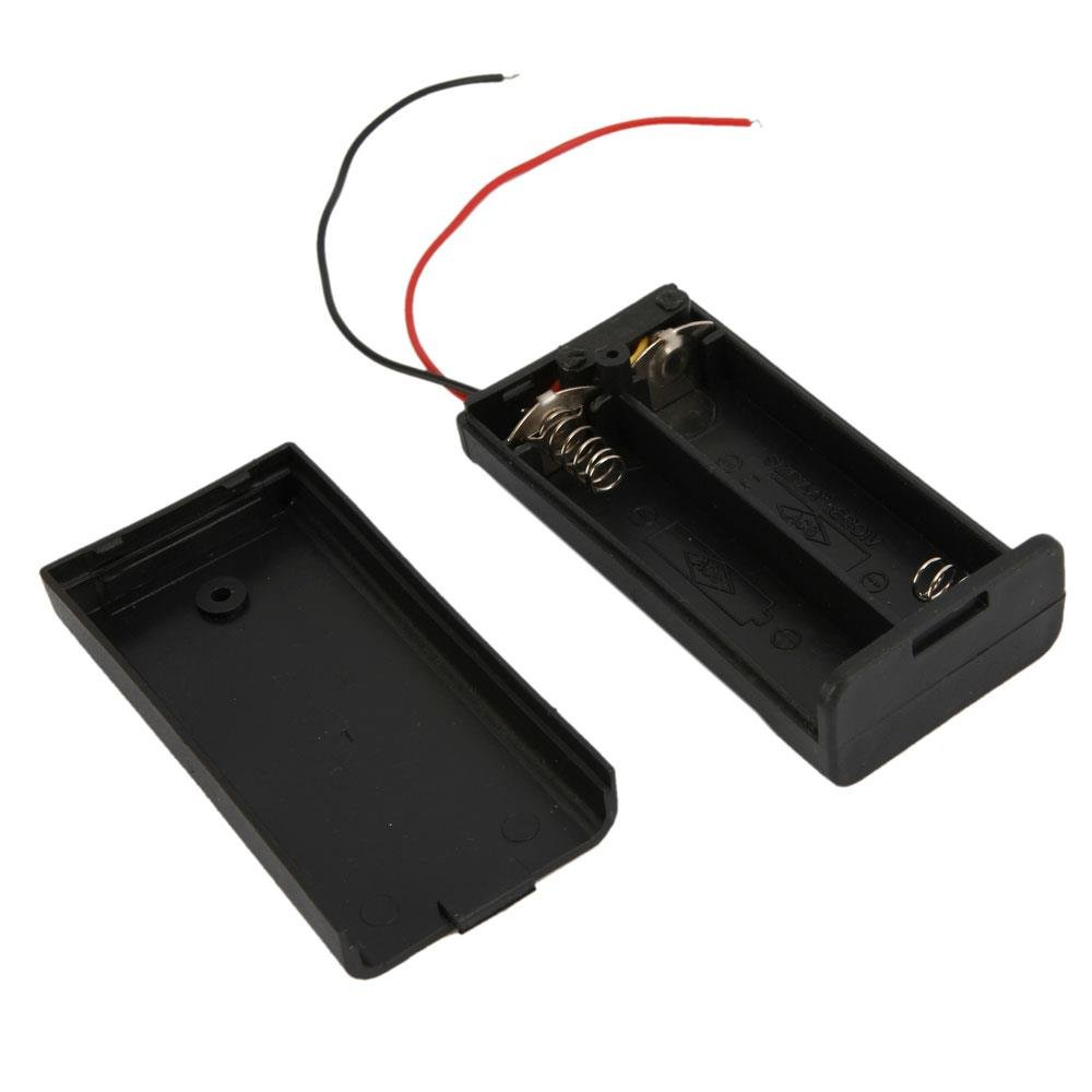 10pcs 2-Comparent AA Cells Battery Holders (3V) Black