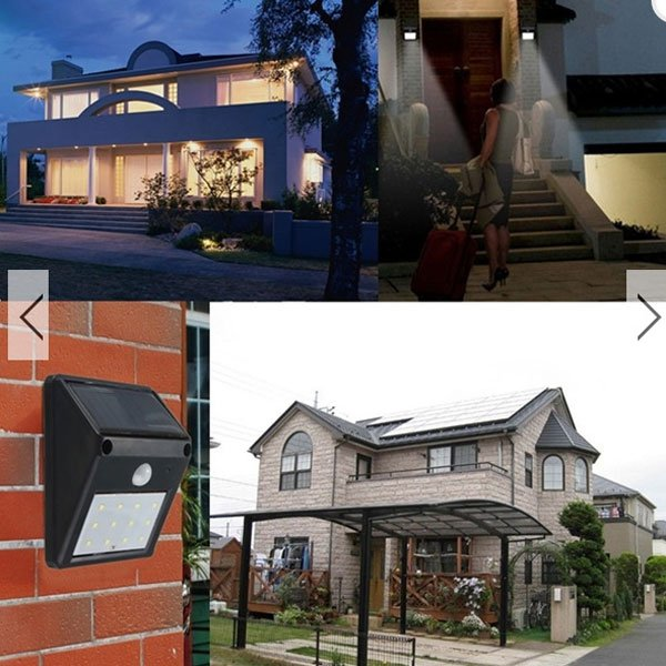 5 Pcs 12-LED Solar Powered PIR Motion Sensor Light Outdoor Garden Wall Light