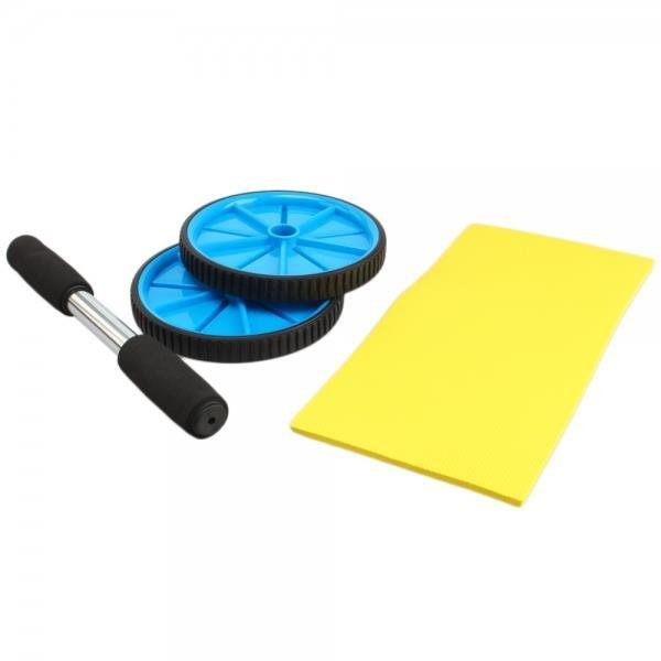 Fitness Exercise Equipment Double Abdominal PVC Wheel Blue