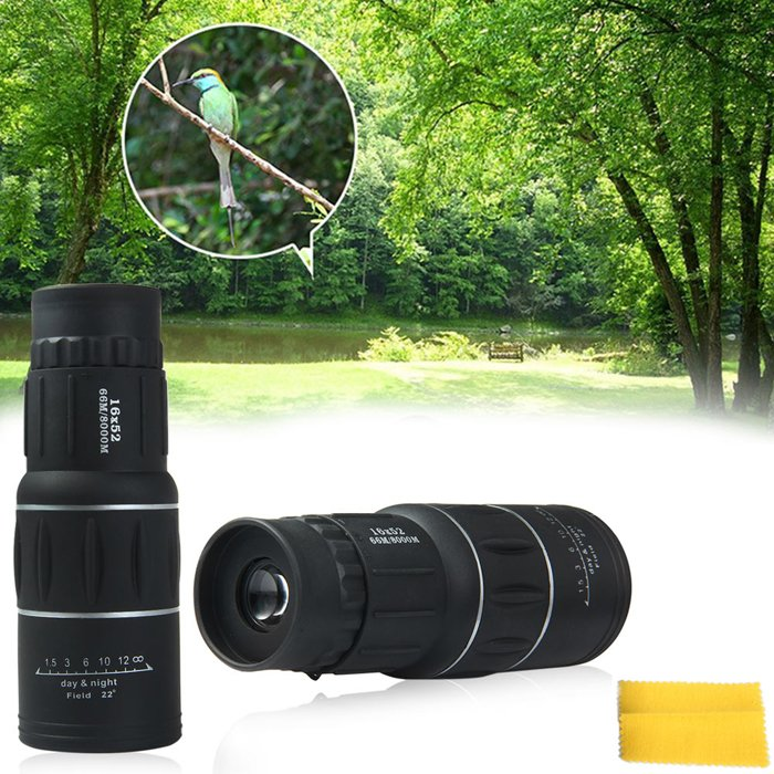 Universal 16X52 Hiking Concert Camera Lens Monocular Telescope Black
