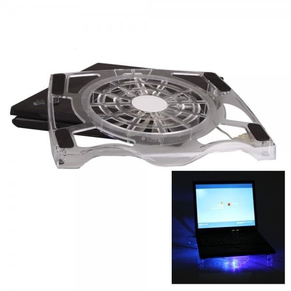 Great Fan Blue LED Extra-thick Notebook Cooling Pad of Crystal White