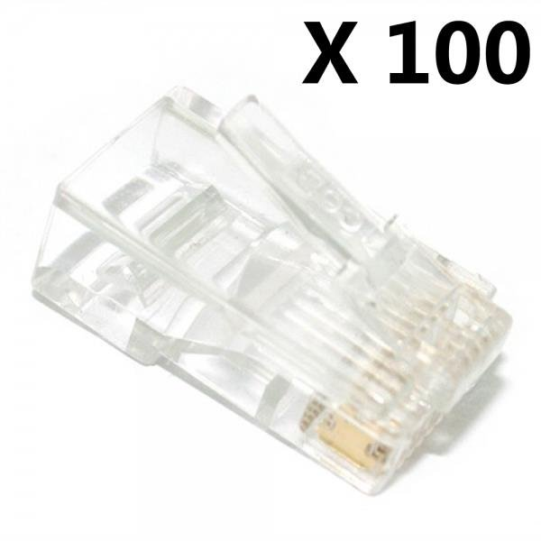100PCS RJ45 RJ-45 CAT-5 Modular Plug Ethernet Gold Plated Network Connector