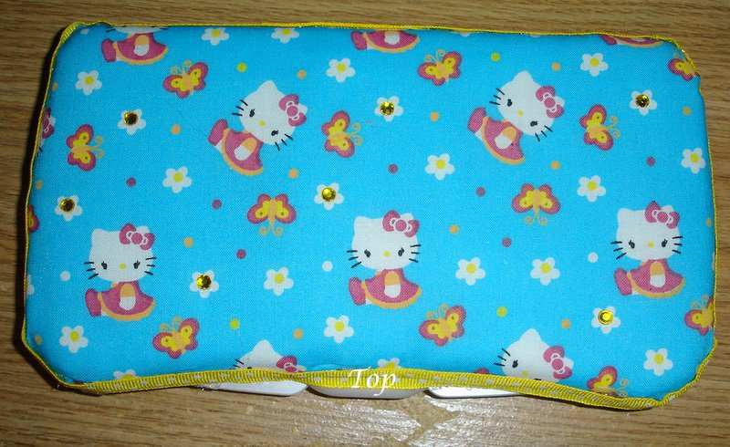 Fabric Covered Baby Wipes Case-Hello Kitty in Blue