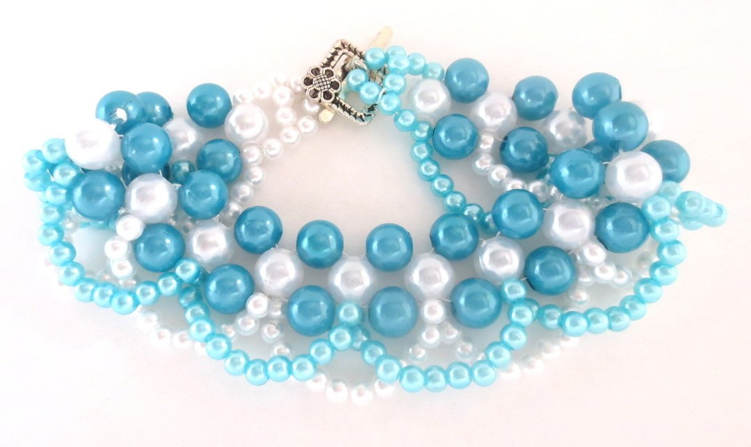 Handmade Teal and White Bead Bracelet