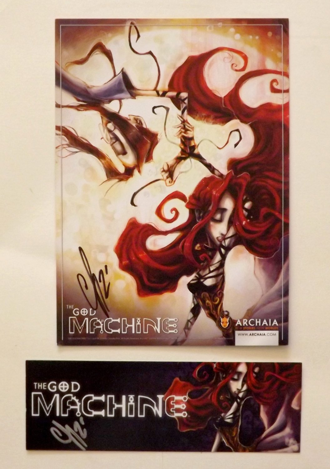 THE GOD MACHINE *SIGNED* Chandra Free -Promo Card/Bookmark Set SDCC 2012 Archaia Comics
