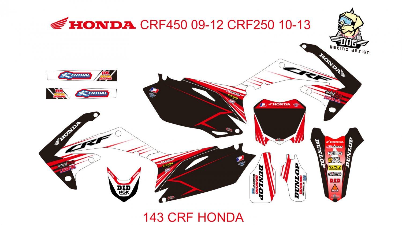 HONDA CRF250 2010-2013 CRF450 2009-2012 GRAPHIC DECAL KIT CODE.143