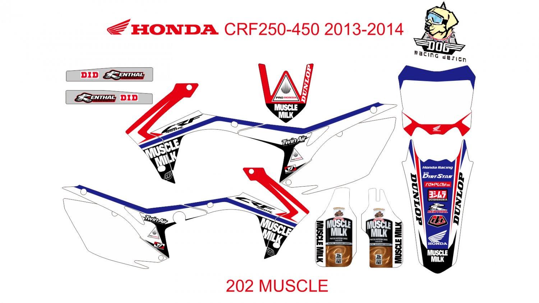 HONDA CRF 250-450 2013-2014 GRAPHIC DECAL KIT CODE.202