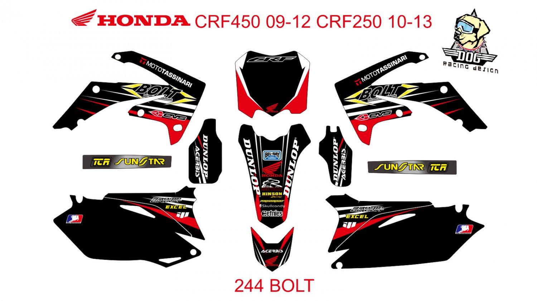 HONDA CRF250 2010-2013 CRF450 2009-2012 GRAPHIC DECAL KIT CODE.244