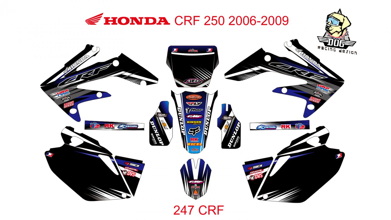 HONDA CRF 250 2006-2009 GRAPHIC DECAL KIT CODE.247