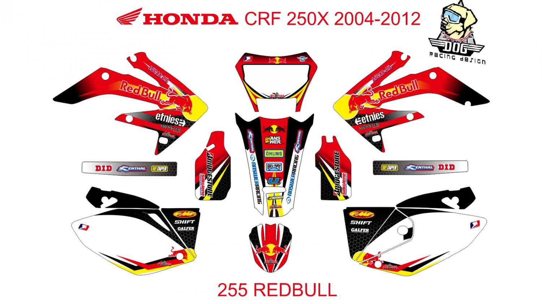 HONDA CRF 250X 2004-2012 GRAPHIC DECAL KIT CODE.255