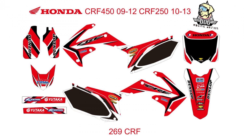 HONDA CRF250 2010-2013 CRF450 2009-2012 GRAPHIC DECAL KIT CODE.269
