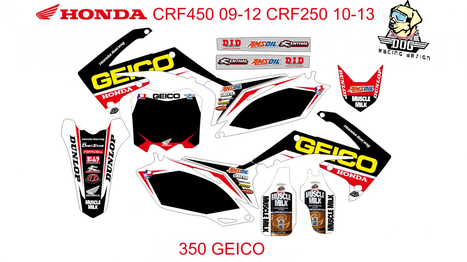 HONDA CRF250 2010-2013 CRF450 2009-2012 GRAPHIC DECAL KIT CODE.350